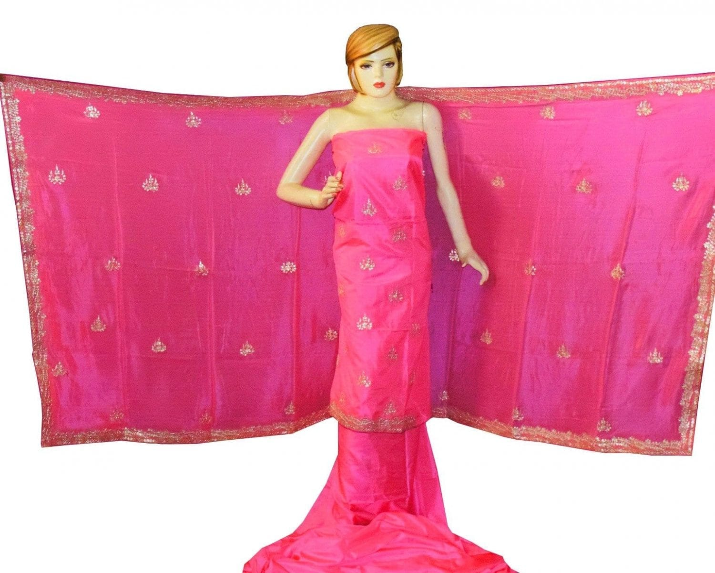 Pink PURE SILK Gota Patti work Salwar Kameez Suit CHINON DUPATTA H0193 1