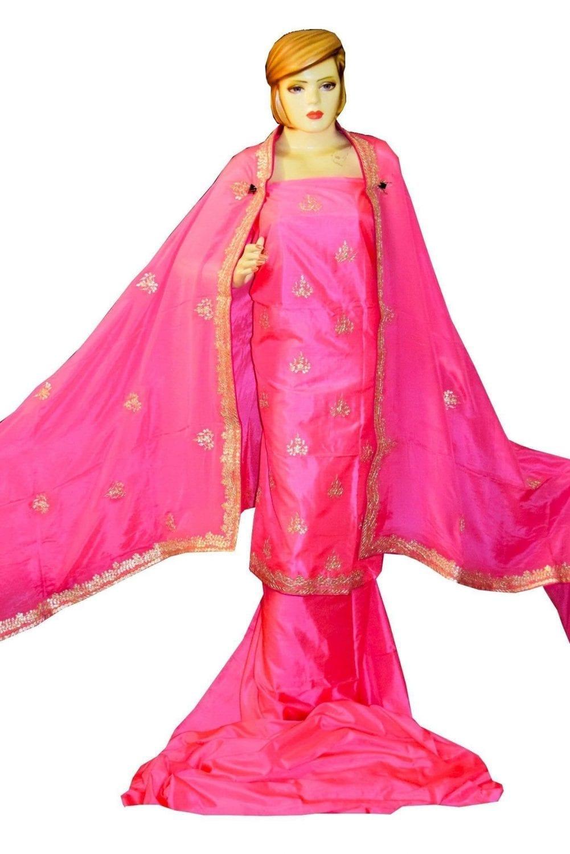 Pink PURE SILK Gota Patti work Salwar Kameez Suit CHINON DUPATTA H0193 2