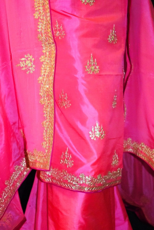 Pink PURE SILK Gota Patti work Salwar Kameez Suit CHINON DUPATTA H0193 3