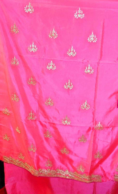 Pink PURE SILK Gota Patti work Salwar Kameez Suit CHINON DUPATTA H0193 5