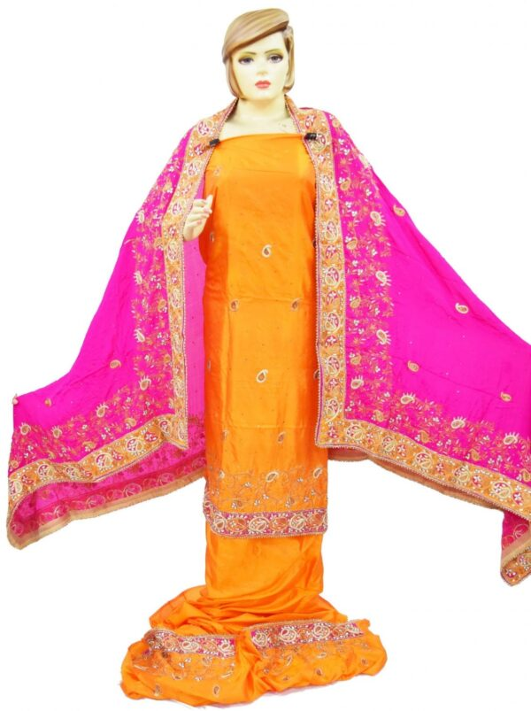 Hand Embroidered Pure Silk Punjabi Bridal Salwar Kameez Suit H0195