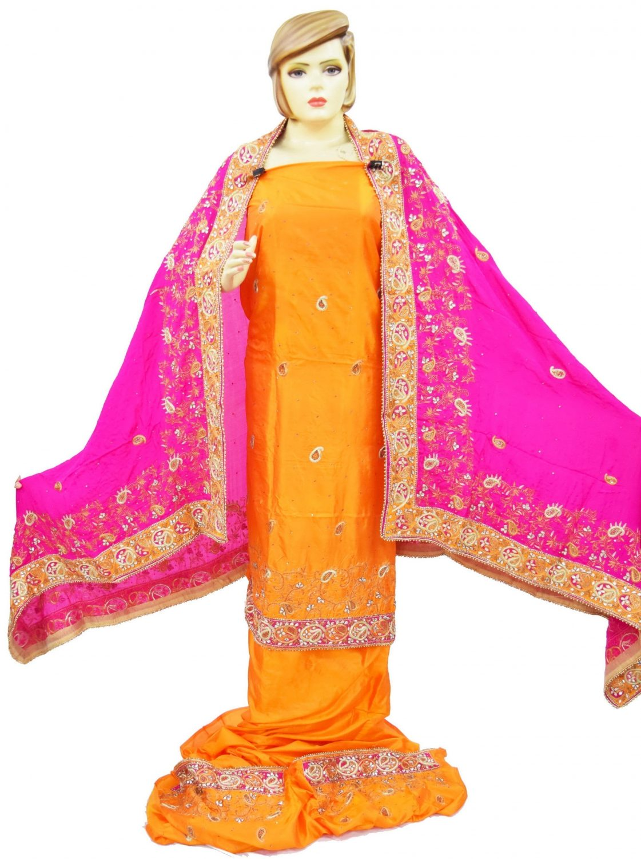 Hand Embroidered Pure Silk Punjabi Bridal Salwar Kameez Suit H0195 1