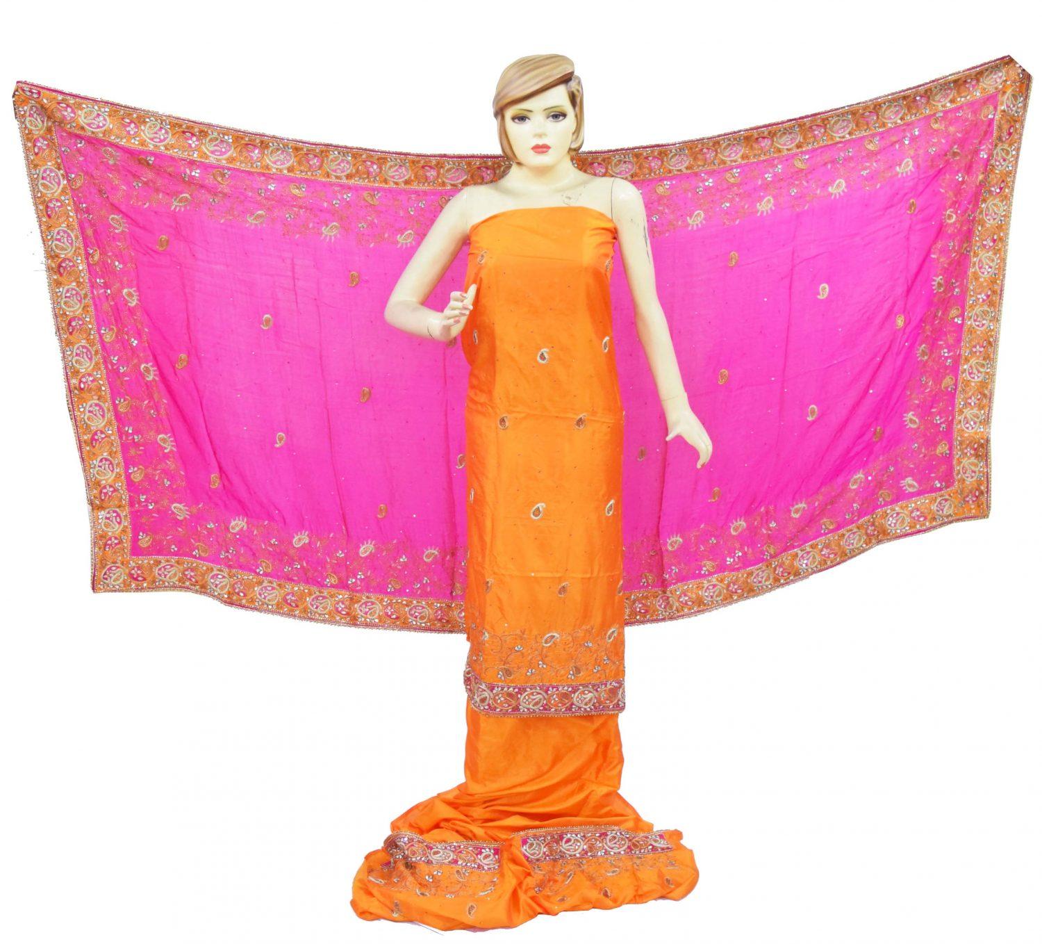 Hand Embroidered Pure Silk Punjabi Bridal Salwar Kameez Suit H0195 2