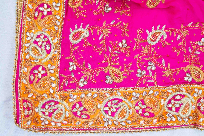Hand Embroidered Pure Silk Punjabi Bridal Salwar Kameez Suit H0195 3