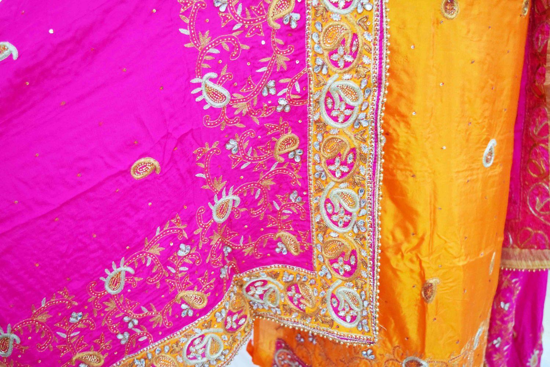 Hand Embroidered Pure Silk Punjabi Bridal Salwar Kameez Suit H0195 4