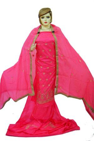 Gajri Pink Pure Silk Hand Embroidered Punjabi Bridal Salwar Kameez Suit H0197