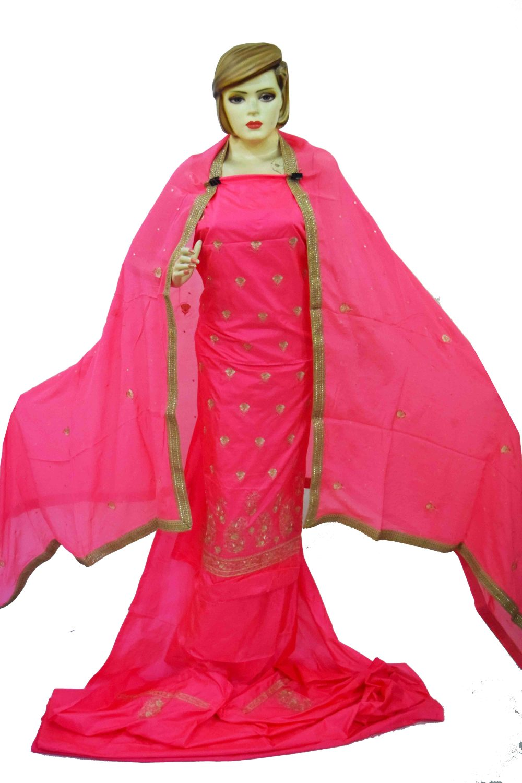Gajri Pink Pure Silk Hand Embroidered Punjabi Bridal Salwar Kameez Suit H0197 1