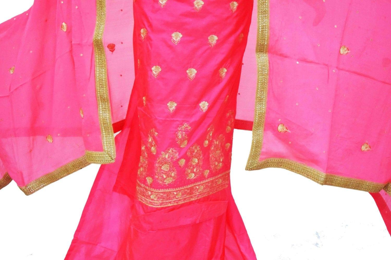 Gajri Pink Pure Silk Hand Embroidered Punjabi Bridal Salwar Kameez Suit H0197 2