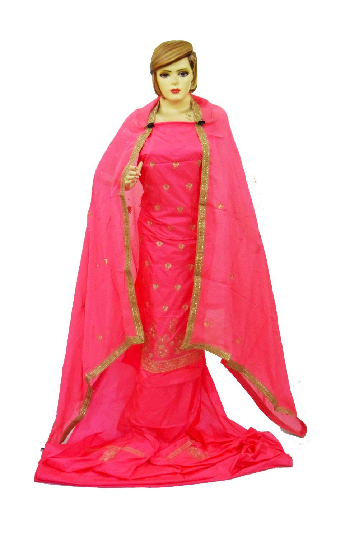 Gajri Pink Pure Silk Hand Embroidered Punjabi Bridal Salwar Kameez Suit H0197 3