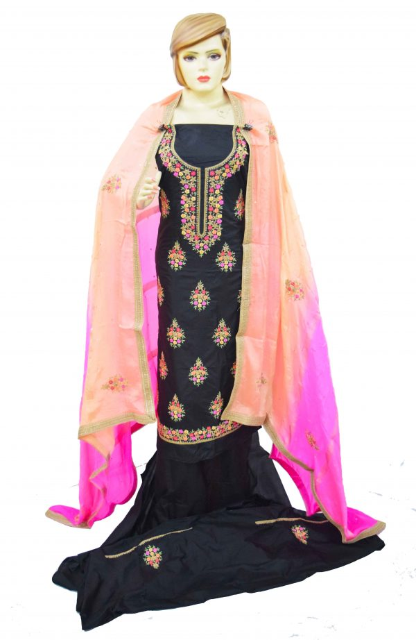 Black Pure Silk Hand Embroidered Punjabi Salwar Kameez Suit H0198