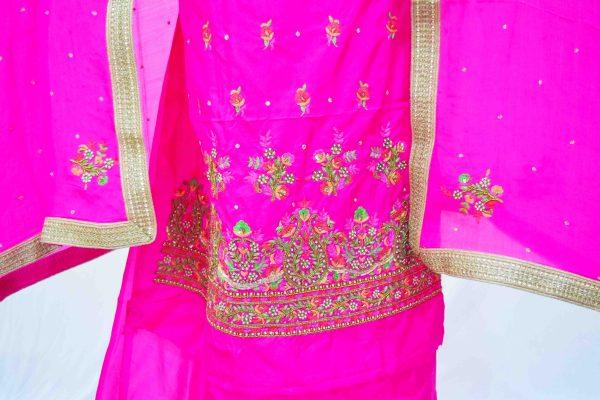 Rani Magenta Silk Hand Embroidered Bridal Punjabi Salwar Kameez Suit H0199