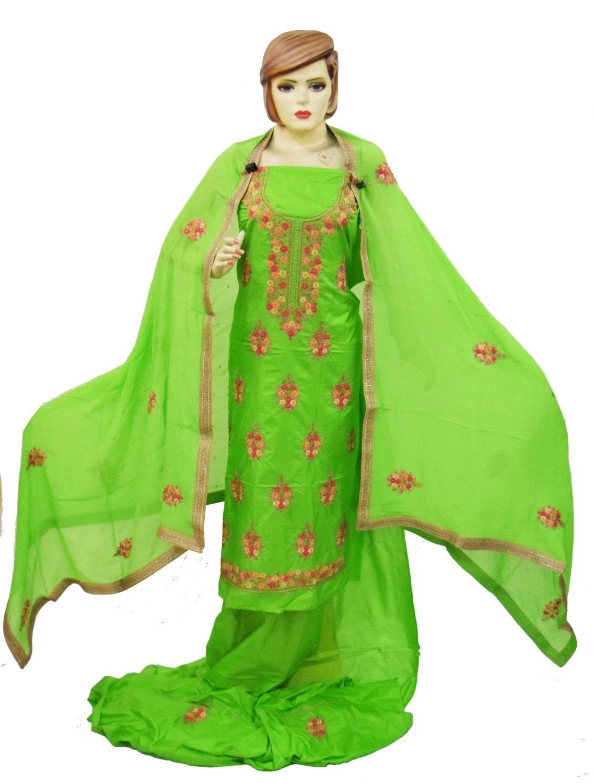 Parrot Green Silk Hand Embroidered Punjabi Salwar Kameez Suit H0200 1