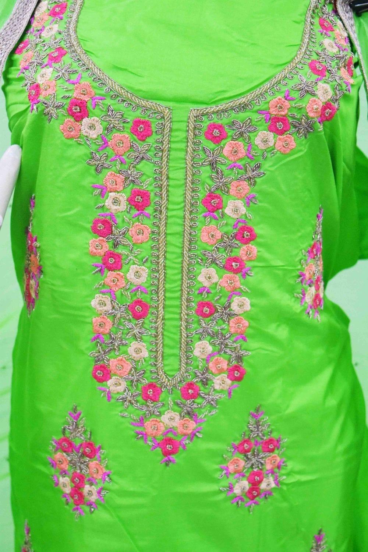 Parrot Green Silk Hand Embroidered Punjabi Salwar Kameez Suit H0200 2
