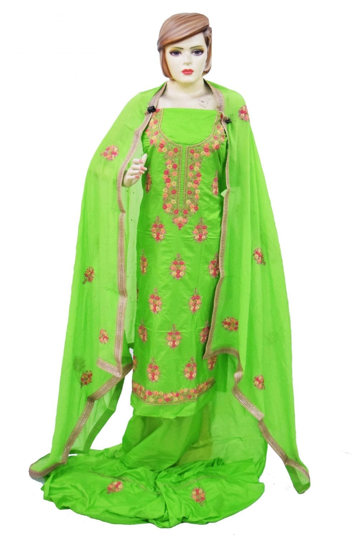 Parrot Green Silk Hand Embroidered Punjabi Salwar Kameez Suit H0200 3
