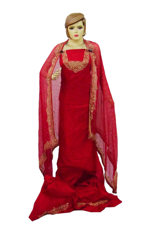 Blood Red Pure Silk Hand Embroidered Bridal Punjabi Salwar Kameez Suit H0201 1
