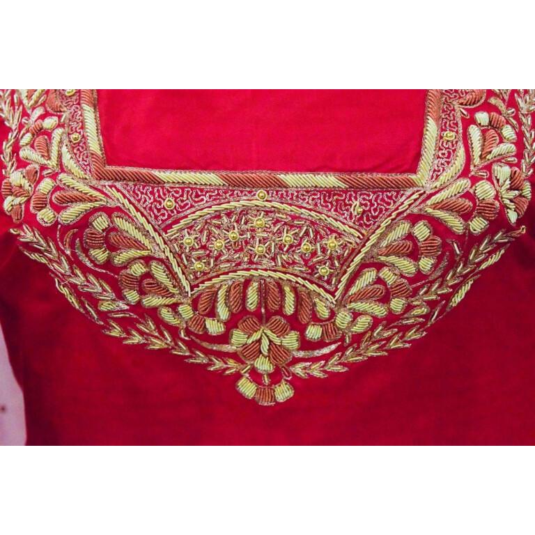 Blood Red Pure Silk Hand Embroidered Bridal Punjabi Salwar Kameez Suit H0201