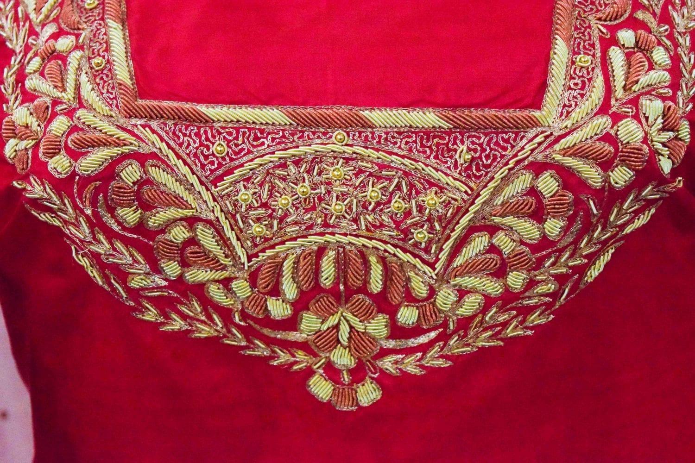 Blood Red Pure Silk Hand Embroidered Bridal Punjabi Salwar Kameez Suit H0201 3