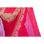 Blood Red Pure Silk Hand Embroidered Bridal Punjabi Salwar Kameez Suit H0201