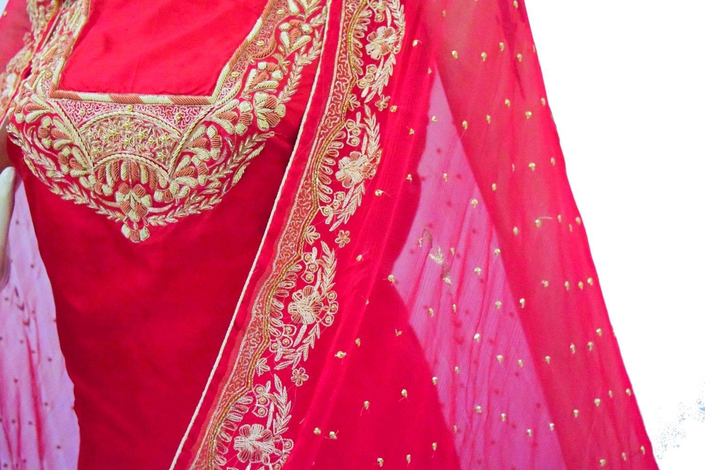 Blood Red Pure Silk Hand Embroidered Bridal Punjabi Salwar Kameez Suit H0201 4
