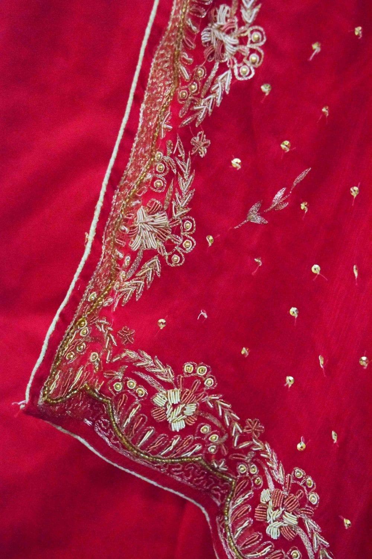 Blood Red Pure Silk Hand Embroidered Bridal Punjabi Salwar Kameez Suit H0201 5