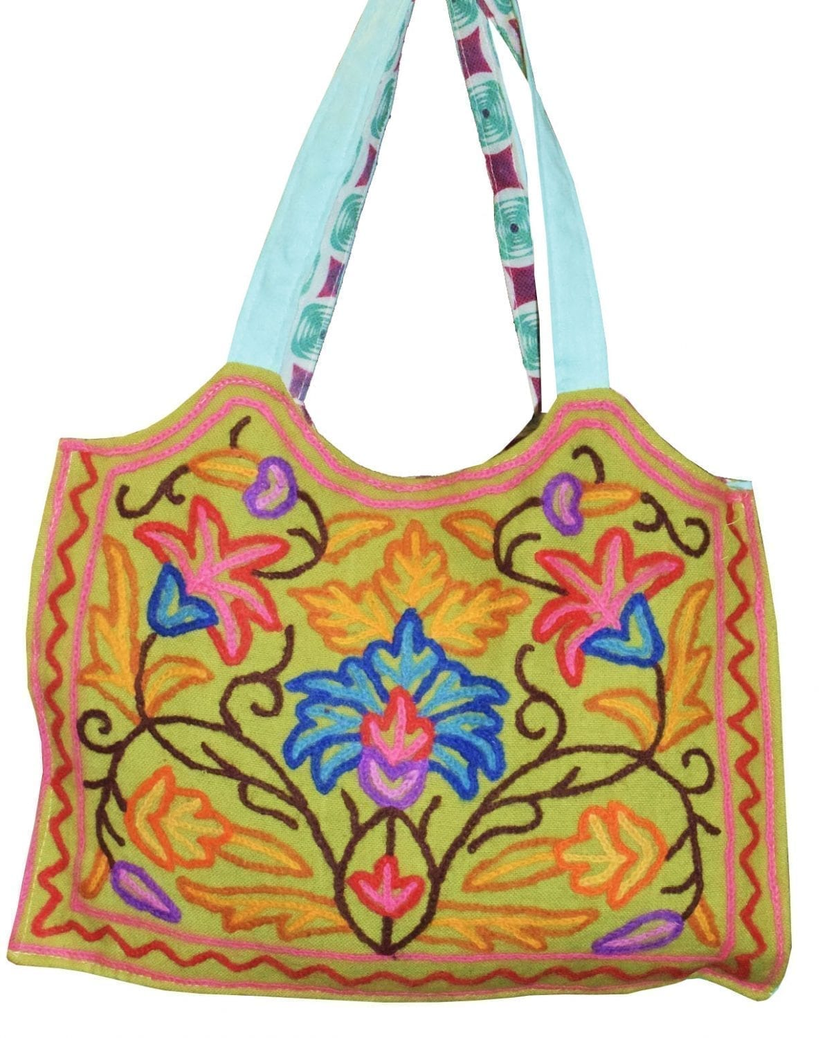 Kashmiri College Bag Hand made embroidered Office /  Shopping Bag HB114 1