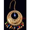 Golden Large Size Mori Tikka Maang Teeka jewellery for giddha and bhangra J0442