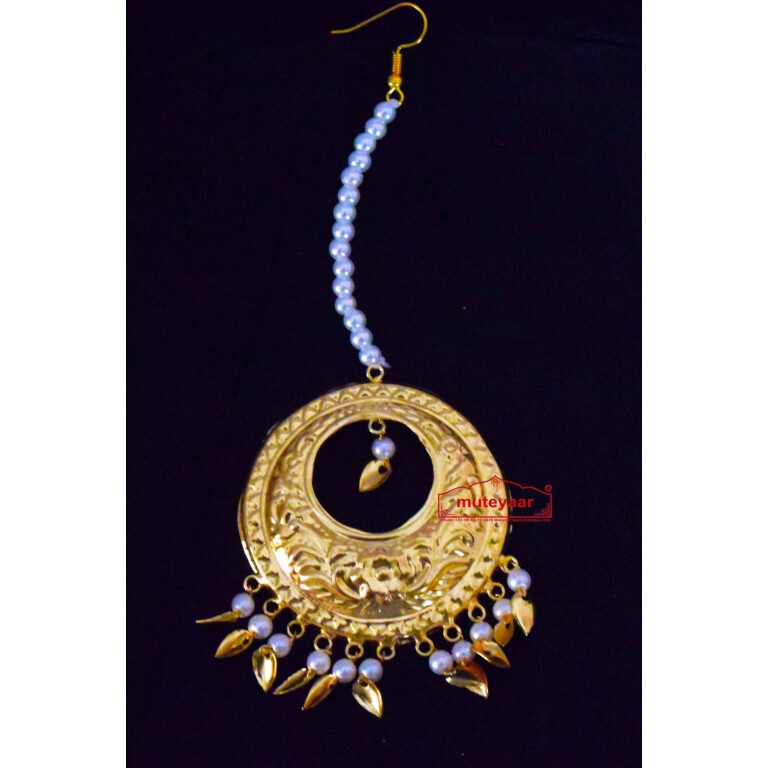 Golden Large Size Mori Tikka jewellery with white moti for giddha and bhangra J0443