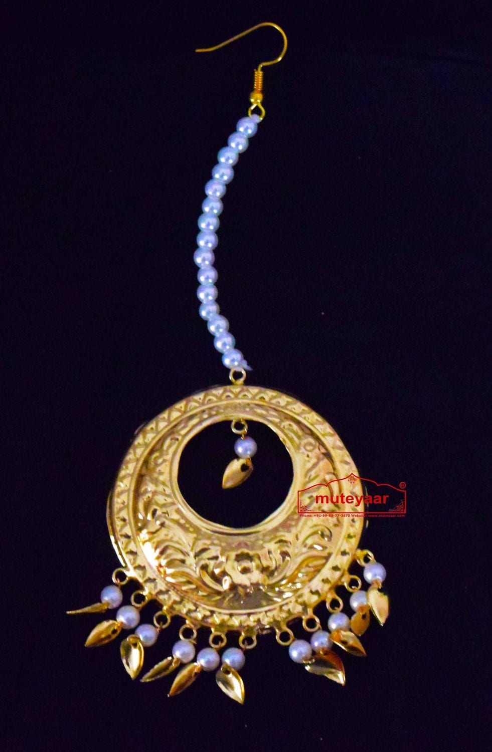 Golden Large Size Mori Tikka jewellery with white moti for giddha and bhangra J0443 1