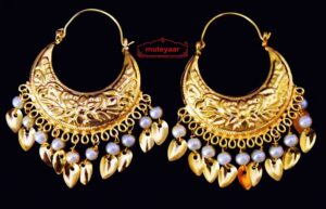 Punjabi Traditional Jewellery Earrings Gold Polished Bali set J0445