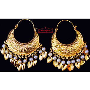 Punjabi Traditional Jewellery Earrings Gold Polished Bali set J0445