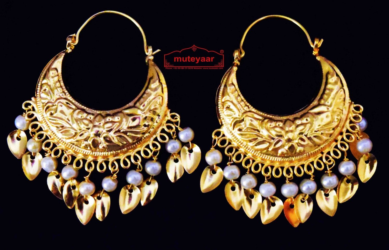 Punjabi Traditional Jewellery Earrings Gold Polished Bali set J0445 1