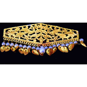 Long Hair Clip Gold Polished with White Beads Party wear Sui J0446