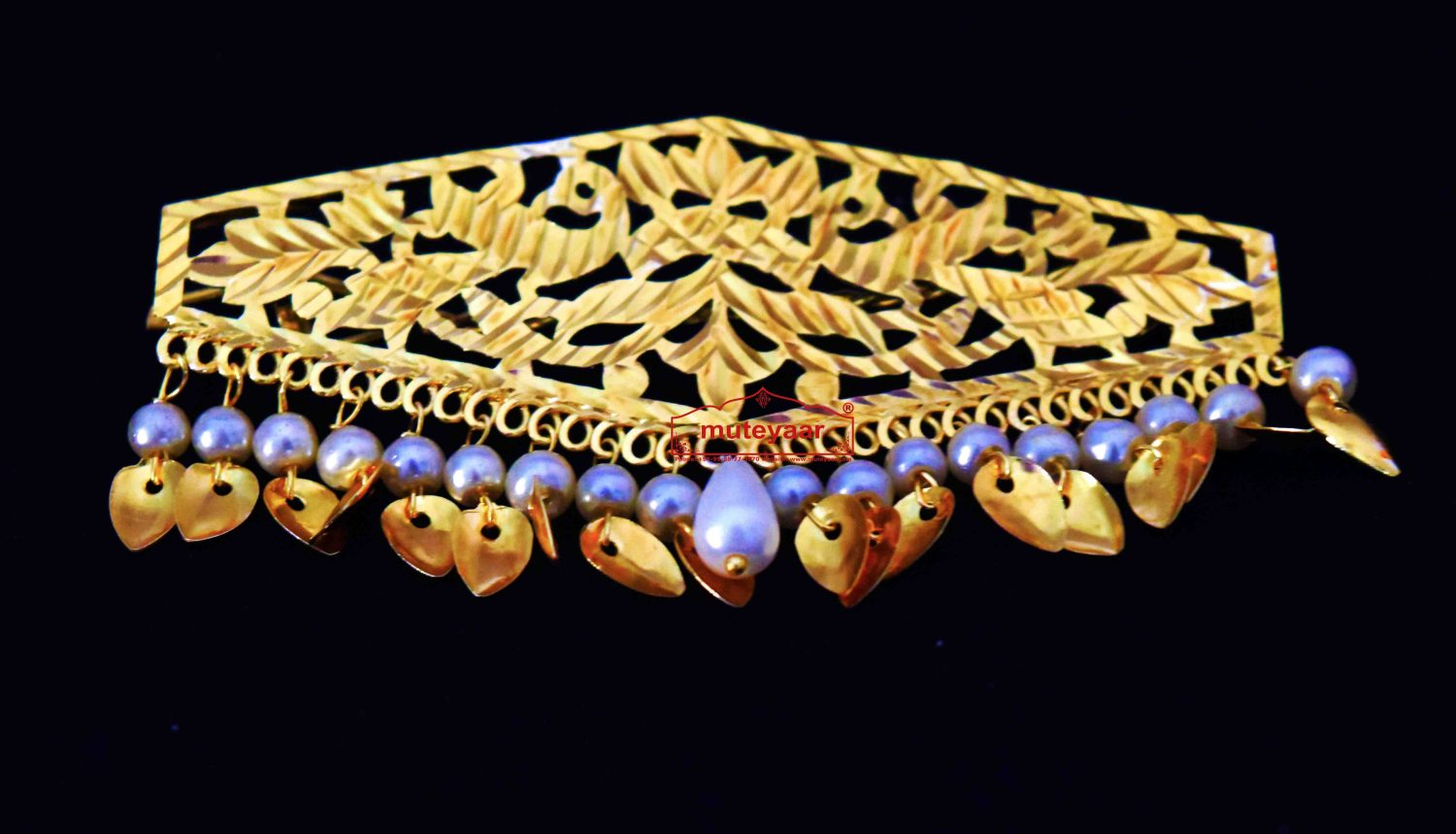 Long Hair Clip Gold Polished with White Beads Party wear Sui J0446 1