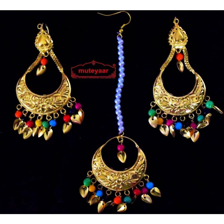 Gold Polished Punjabi Earrings Tikka set with multicolour moti beads J0447