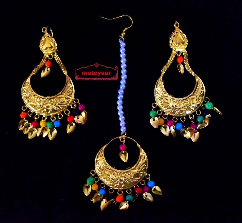 Gold Polished Punjabi Earrings Tikka set with multicolour moti beads J0447 1