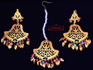 Gold Polished Punjabi Earrings Tikka set with cut jali work J0448