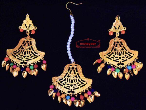 Gold Polished Punjabi Earrings Tikka set with cut jali work J0448