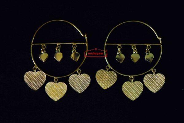 Gold Polished Pipal Pattiyaan Earrings set for giddha bhangra J0449