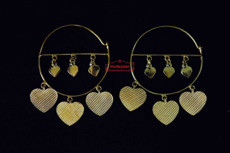 Gold Polished Pipal Pattiyaan Earrings set for giddha bhangra J0449 1