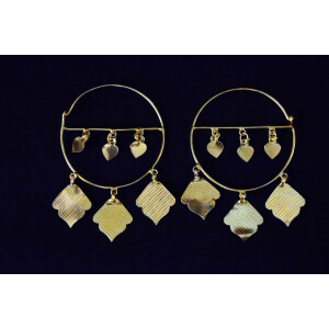 Pipal Pattiyaan Gold Polished Earrings set for giddha bhangra J0452