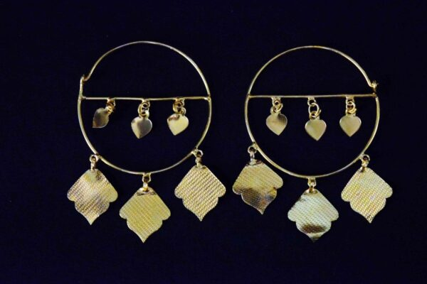 Pipal Pattiyaan Gold Polished Earrings set for giddha bhangra J0452