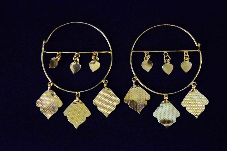 Pipal Pattiyaan Gold Polished Earrings set for giddha bhangra J0452 1