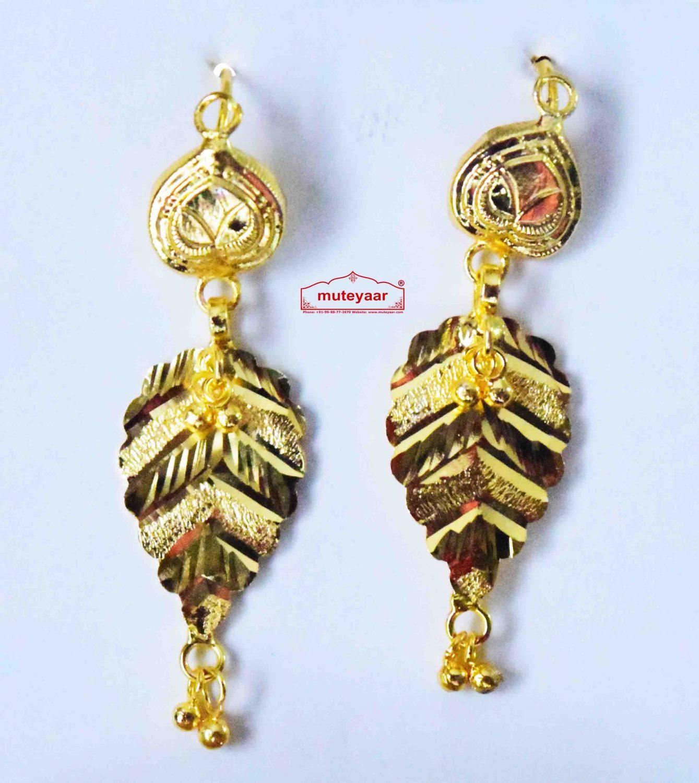 Gold Polished Designer Patti Earrings 1.5 inch long J0453 2
