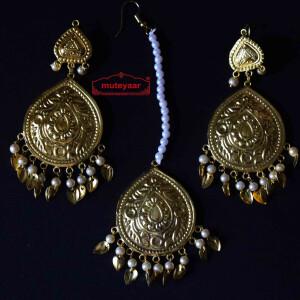 Gold Polished Punjabi Earrings Tikka set with white moti beads J0457