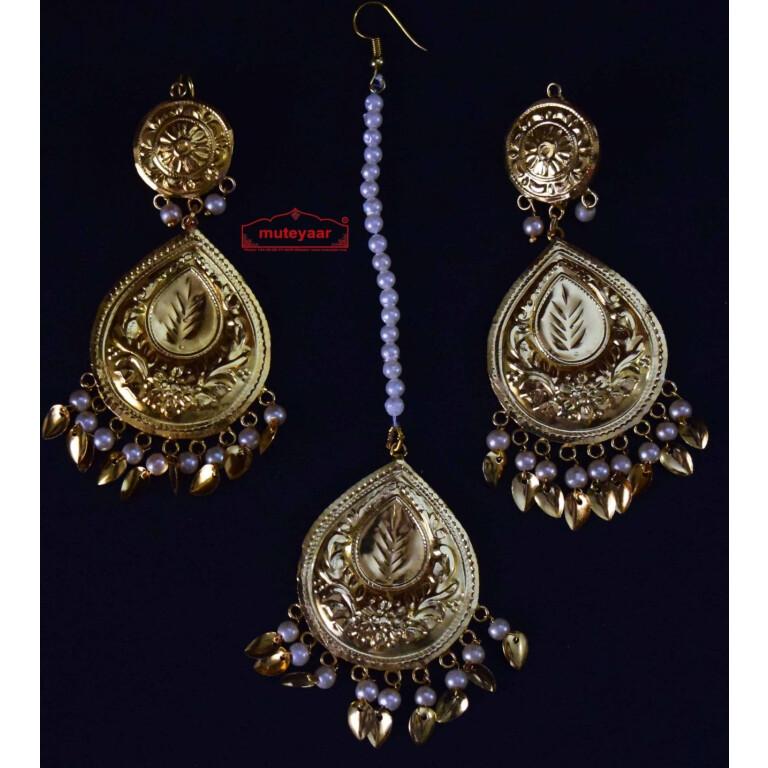 Gold Polished Punjabi Earrings Tikka set with white moti beads J0458