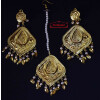 Gold Polished Punjabi Earrings Tikka set with white moti beads J0459