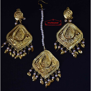 Gold Polished Punjabi Earrings Tikka set with white moti beads J0459