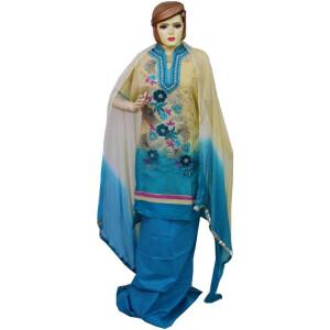 Organdi Embroidered Cotton Punjabi Suit with Chiffon Dupatta M0335