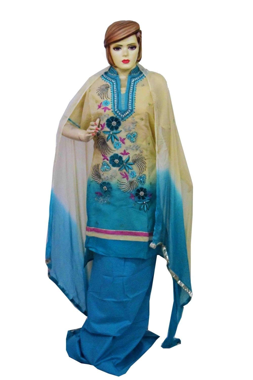 Organdi Embroidered Cotton Punjabi Suit with Chiffon Dupatta M0335 1