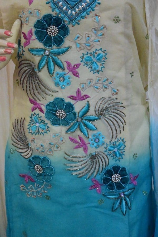 Organdi Embroidered Cotton Punjabi Suit with Chiffon Dupatta M0335